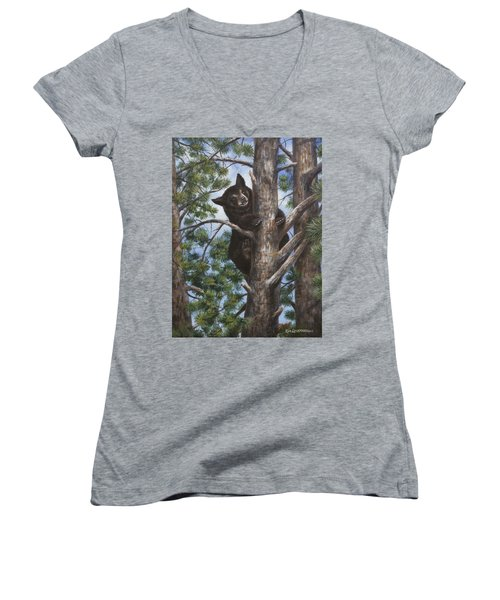 Women's V-Neck T-Shirt (Junior Cut) featuring the painting Up A Tree by Kim Lockman