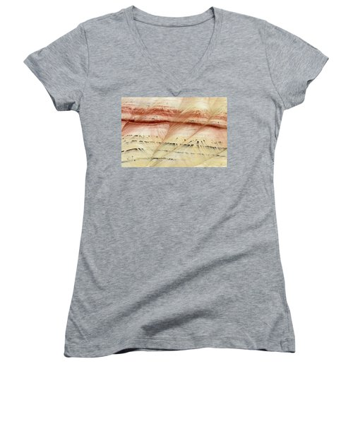 Women's V-Neck T-Shirt (Junior Cut) featuring the photograph Up Close Painted Hills by Greg Nyquist