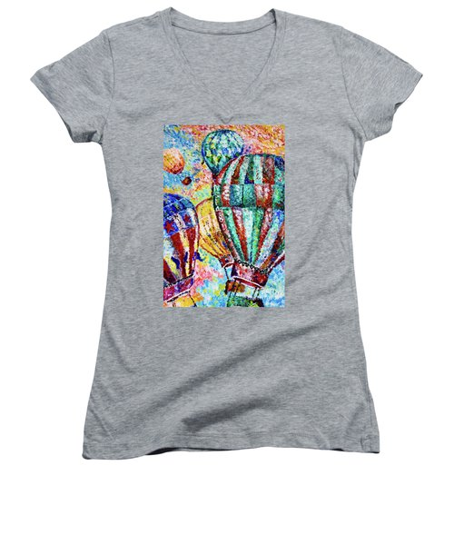 Women's V-Neck T-Shirt (Junior Cut) featuring the painting Up by Colleen Kammerer