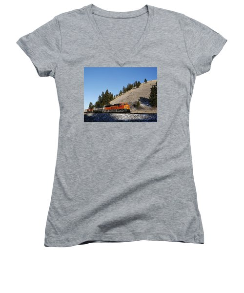 Up Hill And Into The Sun Women's V-Neck