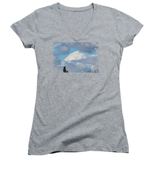 Up In The Clouds Women's V-Neck T-Shirt (Junior Cut) by Di Designs