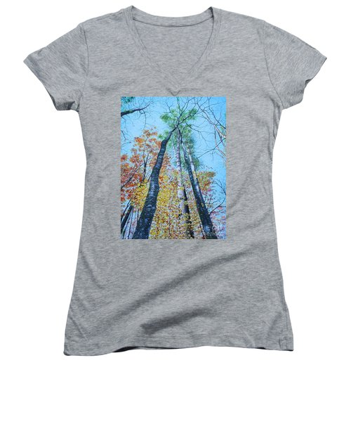 Up Into The Trees Women's V-Neck T-Shirt (Junior Cut) by Mike Ivey