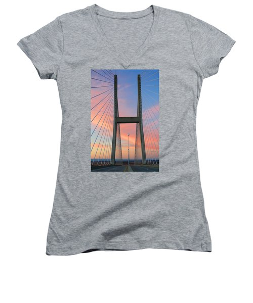 Women's V-Neck T-Shirt (Junior Cut) featuring the photograph Up On The Bridge by Kathryn Meyer