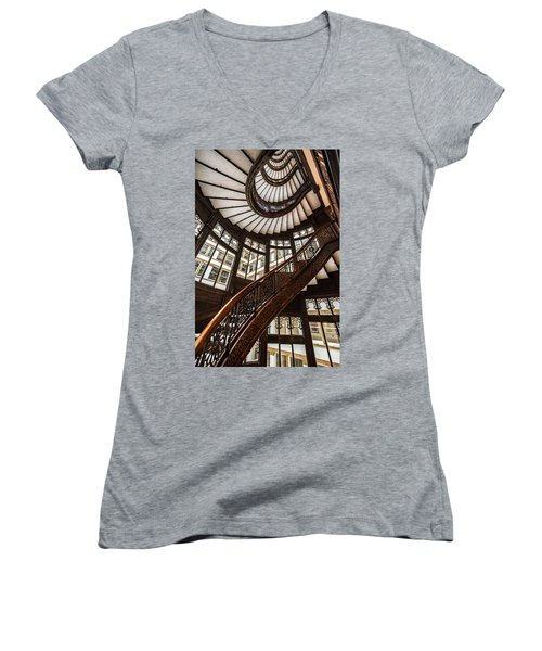 Up The Iconic Rookery Building Staircase Women's V-Neck T-Shirt