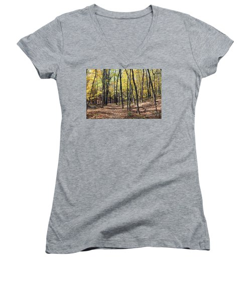 Up The Woodland Trail Women's V-Neck T-Shirt