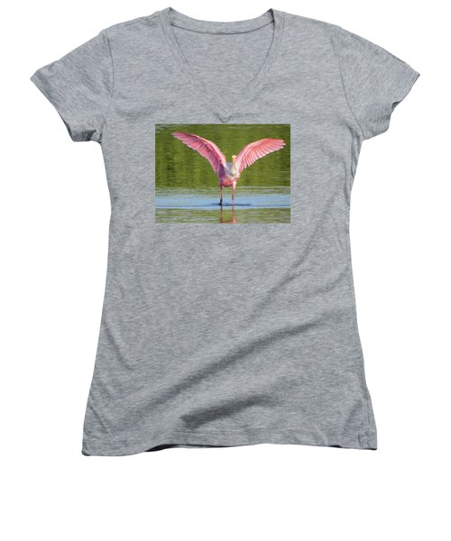 Up, Up And Away Sanibel Spoonbill Women's V-Neck T-Shirt (Junior Cut) by Melinda Saminski