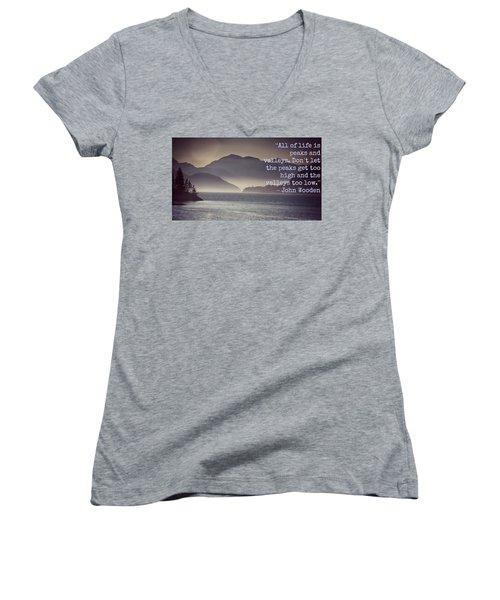 Uplifting244 Women's V-Neck T-Shirt (Junior Cut) by David Norman
