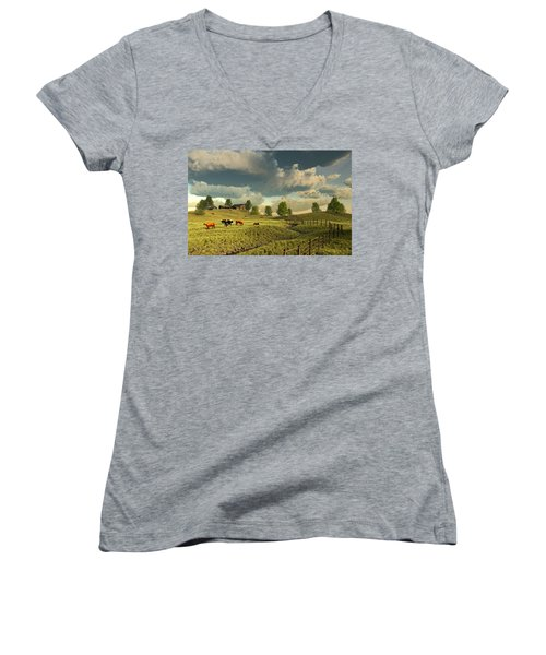 Upon The Rural Seas Women's V-Neck