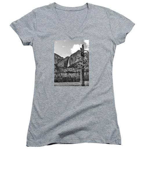 Upper And Lower Yosemite Falls Women's V-Neck T-Shirt