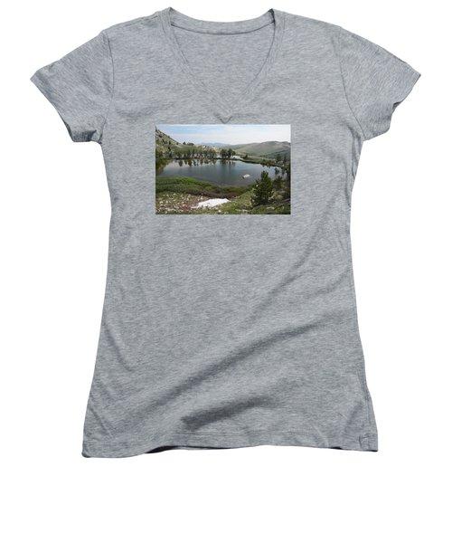 Women's V-Neck T-Shirt (Junior Cut) featuring the photograph Upper Hidden Lake by Jenessa Rahn