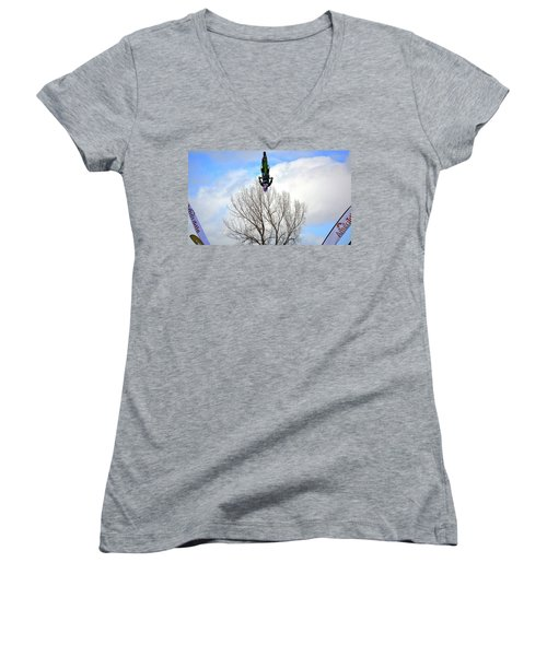 Upside Down And All Around Women's V-Neck T-Shirt (Junior Cut) by Barbara Dudley