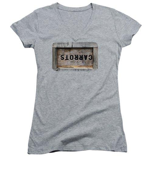 Upside Down Carrot Box Women's V-Neck T-Shirt (Junior Cut) by Ethna Gillespie