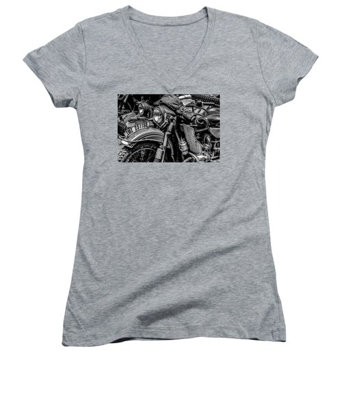 Ural Patrol Bike Women's V-Neck T-Shirt (Junior Cut) by Anthony Citro