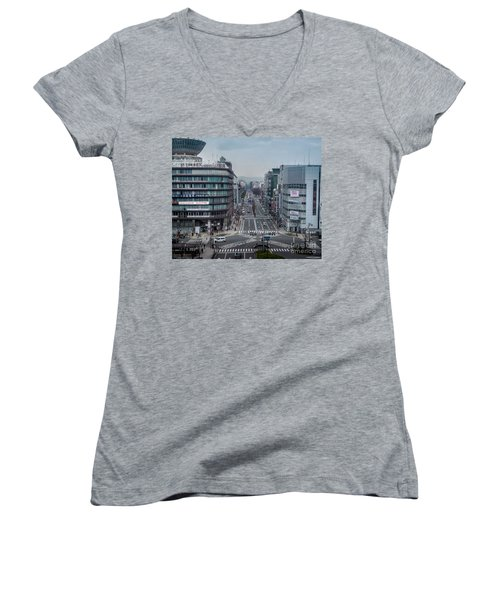 Urban Avenue, Kyoto Japan Women's V-Neck T-Shirt