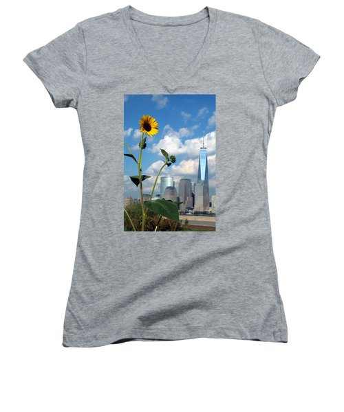 Women's V-Neck T-Shirt (Junior Cut) featuring the photograph Urban Contrast by Michael Dorn
