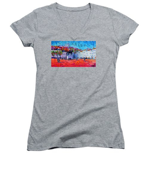 Urban Impression - Bellecour Square In Lyon France Women's V-Neck (Athletic Fit)