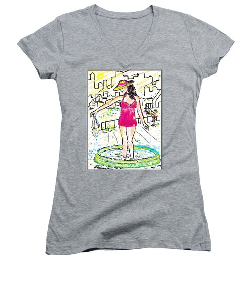 Women's V-Neck T-Shirt (Junior Cut) featuring the digital art Urban Poolside by Desline Vitto