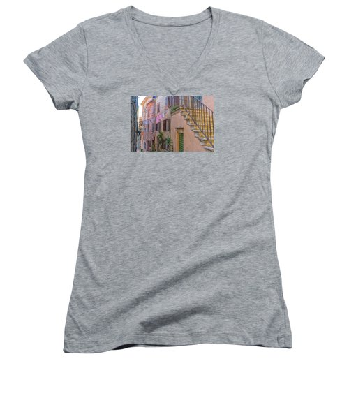 Women's V-Neck T-Shirt (Junior Cut) featuring the photograph Urban View With Laundary by Uri Baruch