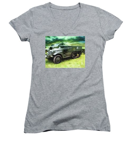 U.s. Army Halftrack Women's V-Neck T-Shirt (Junior Cut) by Michael Cleere