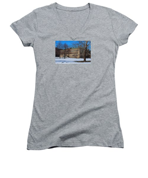 Us Court House And Custom House Women's V-Neck T-Shirt (Junior Cut) by Michiale Schneider