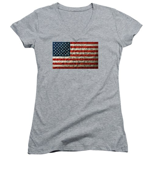 Us Flag And The Gears Design Women's V-Neck (Athletic Fit)