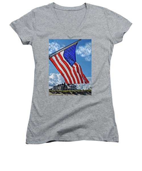 Us Flag,ocean Grove,nj Flag Women's V-Neck T-Shirt (Junior Cut) by Joan Reese