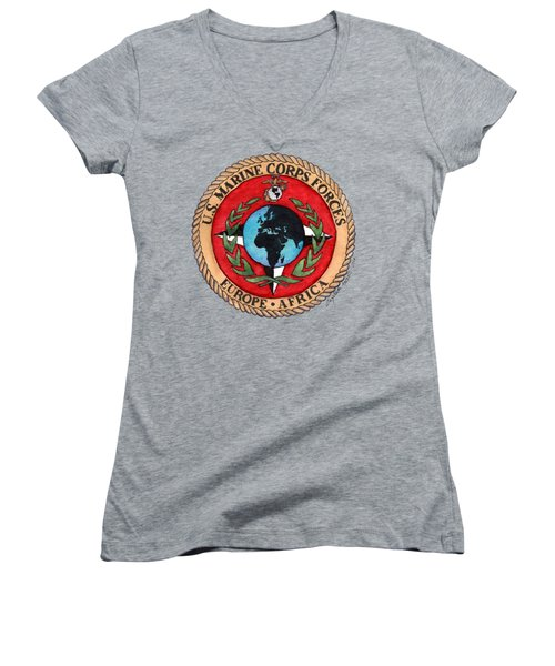 U.s. Marine Corps Forces Europe - Africa Women's V-Neck (Athletic Fit)