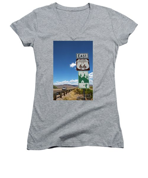 Us Route 66 Sign Arizona Women's V-Neck T-Shirt