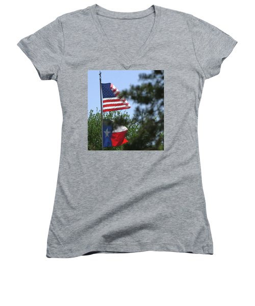 Usa Blesses Texas Women's V-Neck (Athletic Fit)