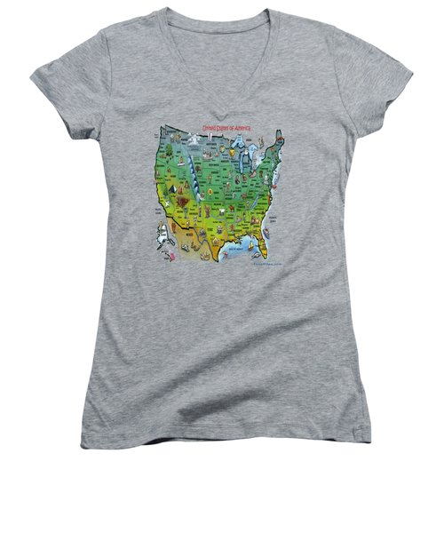 Usa Cartoon Map Women's V-Neck
