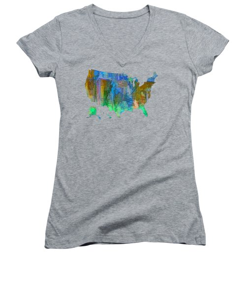 Usa - Colorful Map Women's V-Neck T-Shirt