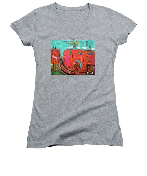 Usa Steel Still Fascinates Women's V-Neck T-Shirt (Junior Cut) by Mary Carol Williams