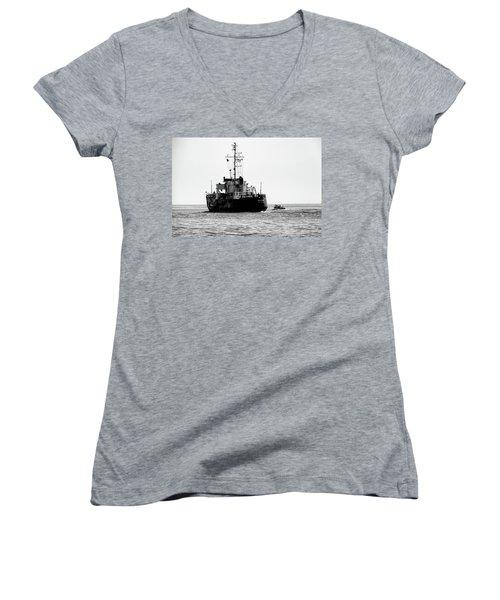 White Portugeuse Women's V-Neck T-Shirt (Junior Cut) by Randy J Heath