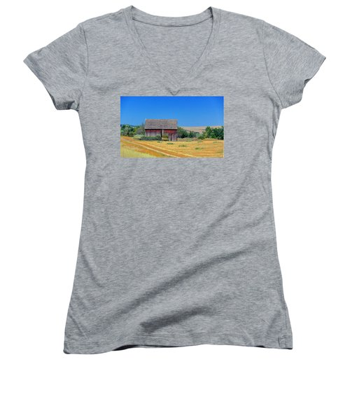 Women's V-Neck T-Shirt (Junior Cut) featuring the photograph Used To Be Red Barn by Susan Crossman Buscho