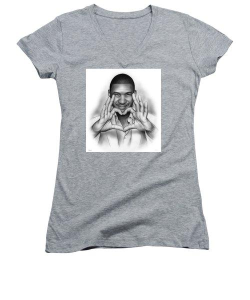 Usher Women's V-Neck T-Shirt (Junior Cut) by Greg Joens