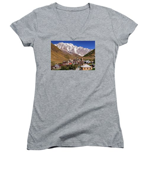 Ushguli And  Shkhara Mount Women's V-Neck T-Shirt (Junior Cut) by Sergey Simanovsky