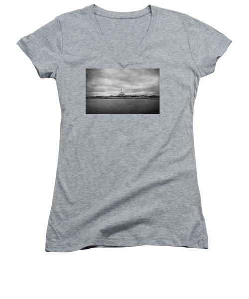 Women's V-Neck T-Shirt (Junior Cut) featuring the photograph Uss Yorktown by Sandy Keeton