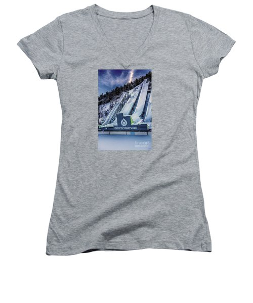 Utah Olympic Park Women's V-Neck T-Shirt (Junior Cut) by David Millenheft