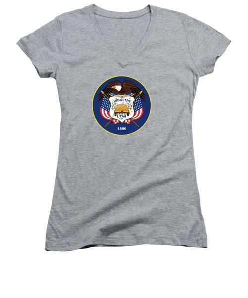 Utah State Flag Authentic Version Women's V-Neck T-Shirt (Junior Cut) by Bruce Stanfield