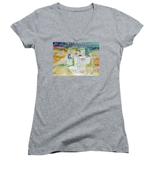 Utility Boxes Near A Forest Women's V-Neck T-Shirt