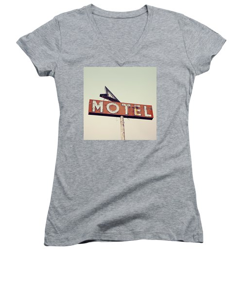 Women's V-Neck T-Shirt (Junior Cut) featuring the photograph Vacancy Vintage Motel Sign by Melanie Alexandra Price