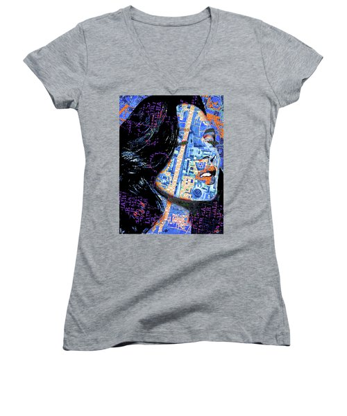 Women's V-Neck T-Shirt (Junior Cut) featuring the mixed media Vain by Tony Rubino