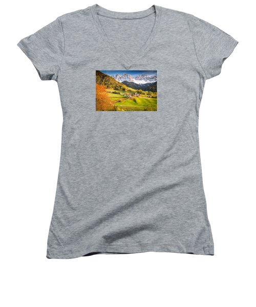 Val Di Funes, Italy Women's V-Neck (Athletic Fit)