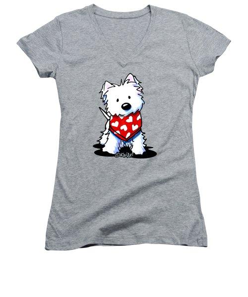 Valentine Westie Women's V-Neck T-Shirt