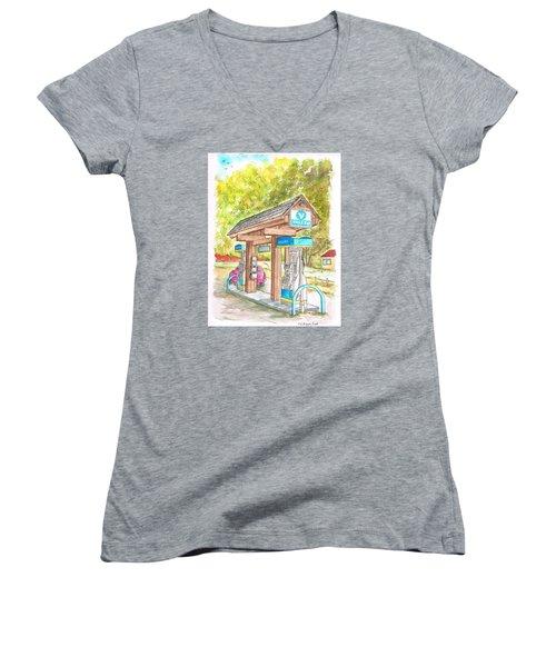 Valero Gas Station In Big Sur, California Women's V-Neck T-Shirt (Junior Cut) by Carlos G Groppa