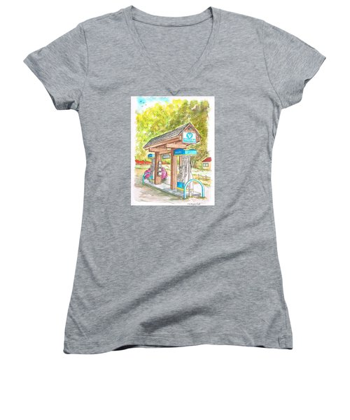 Valero Gas Station In Big Sur, California Women's V-Neck (Athletic Fit)