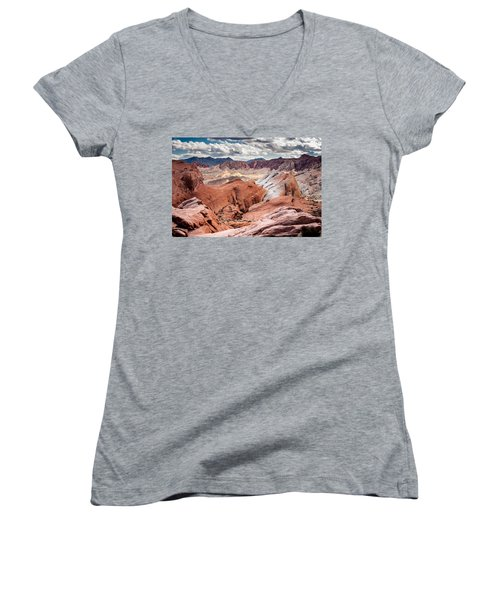 Valley Of Fire Expanse Women's V-Neck T-Shirt (Junior Cut) by Jason Moynihan