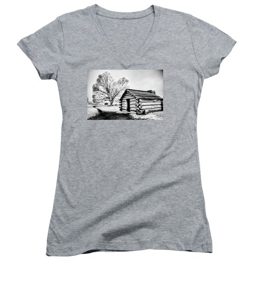 Women's V-Neck T-Shirt (Junior Cut) featuring the photograph Valley Forge Winter Troops Hut                           by Paul W Faust - Impressions of Light