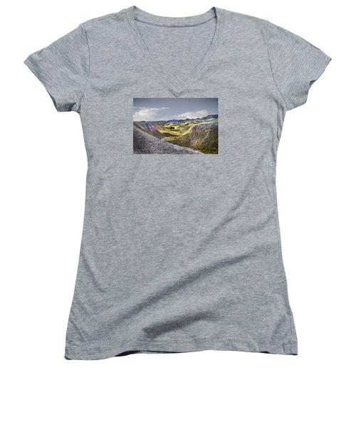 Valley Of Beauty,badlands South Dakota Women's V-Neck T-Shirt (Junior Cut) by John Hix