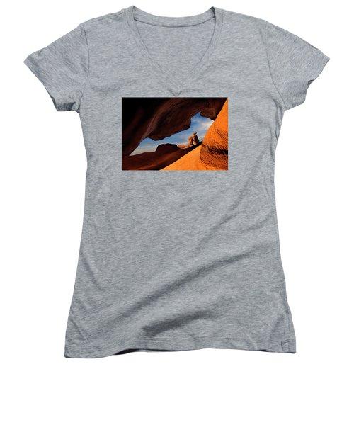 Valley Of Fire Look Through Women's V-Neck T-Shirt (Junior Cut) by Gary Warnimont
